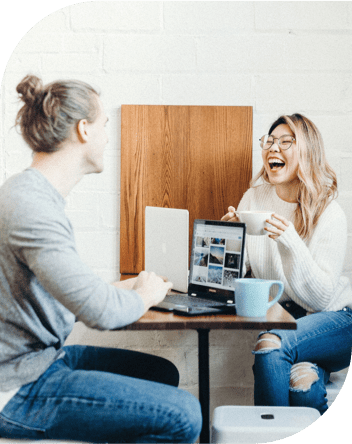 Two happy people with coffee illustration